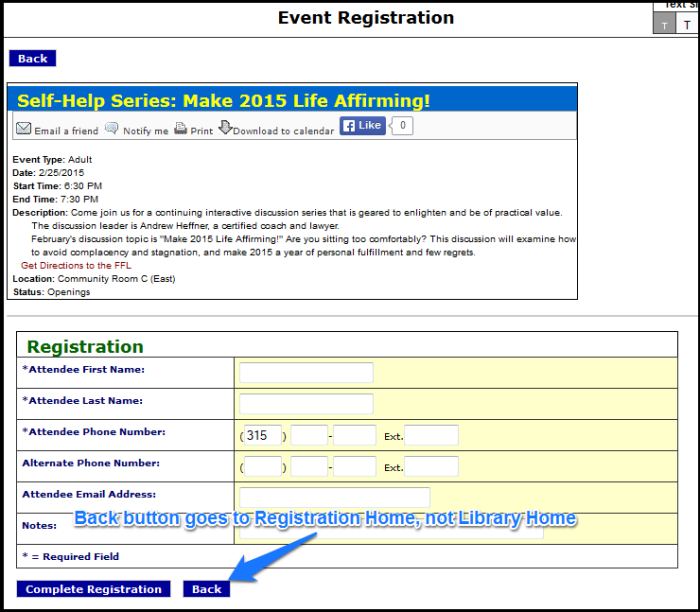 Event Registration Page