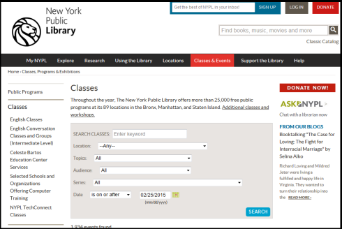 NYPL Classes Page